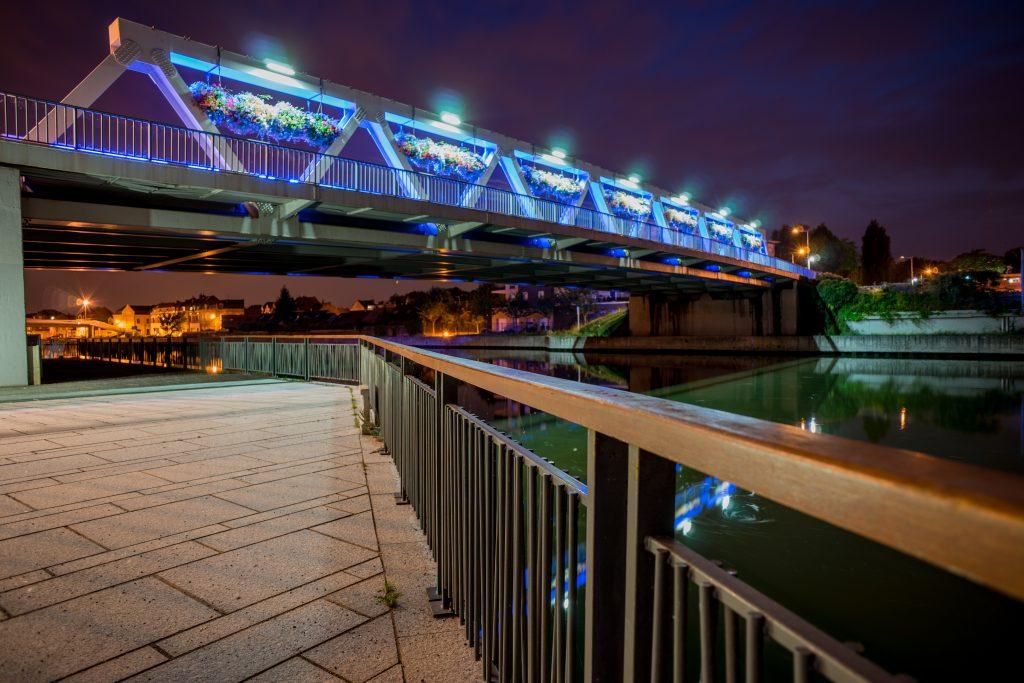 haubourdin ville pont deule cours d'eau nuit nocturne pose longue nord hauts de france eau lumière mairie