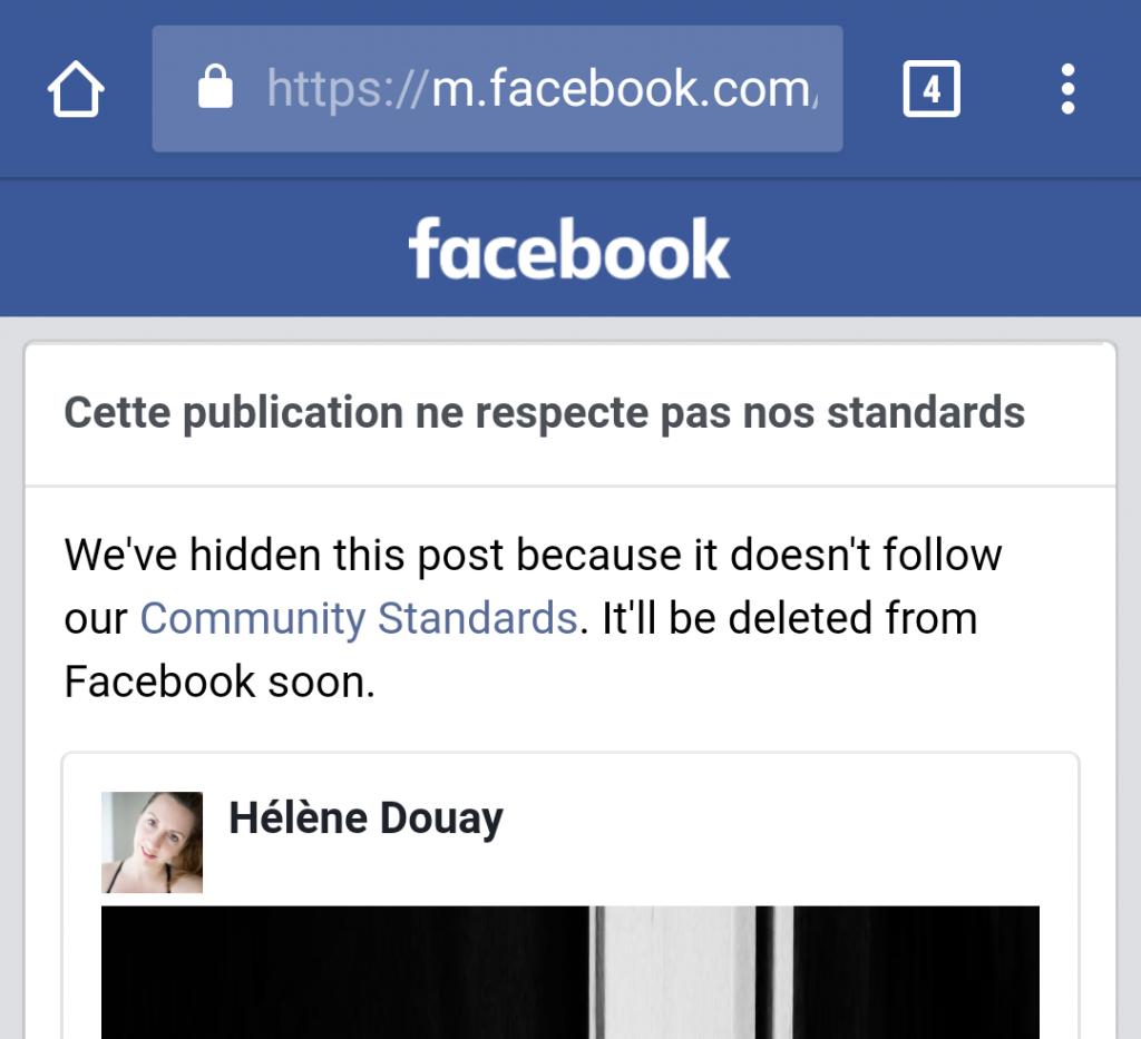 bloquée par facebook blocage censure