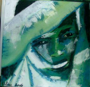 portrait peinture cap vert