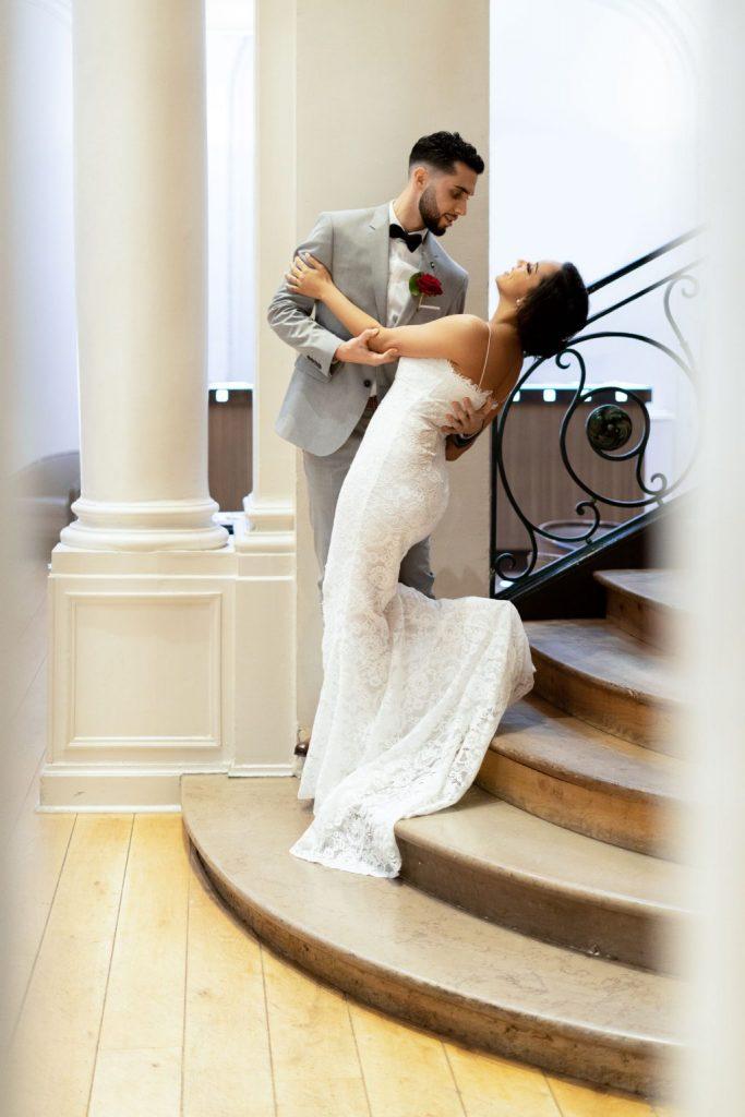photographe mariage lille hôtel escaliers